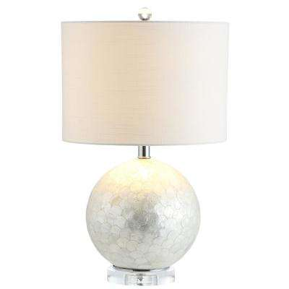 Zuri 23.5 in. Pearl/White Capiz Seashell Sphere Table Lamp