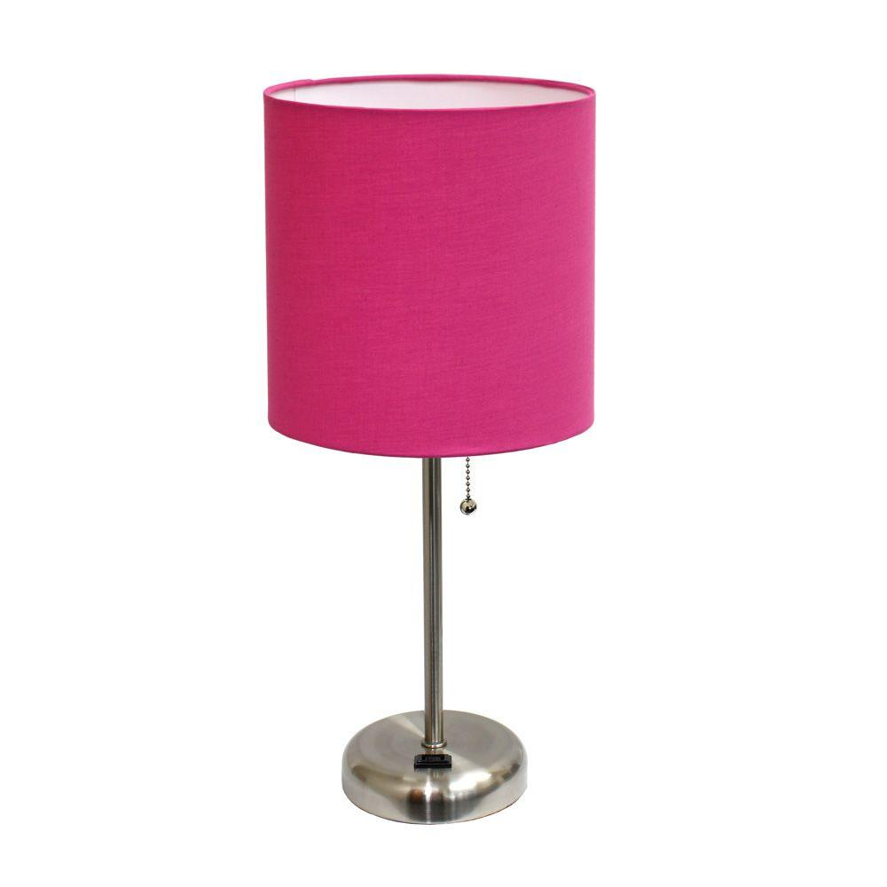 Brushed Steel Stick Table Lamp With Charging Outlet Base