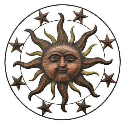 36 in. Bronze Metal Sun Face Wall Decor