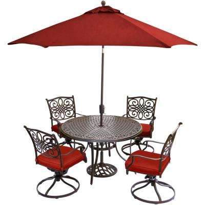 Traditions 5-Piece Aluminum Outdoor Dining Set with Red Cushions and 4 Swivel Rockers