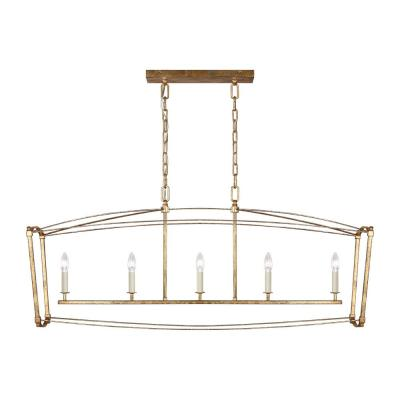 Thayer 5-Light Antique Gild Linear Chandelier