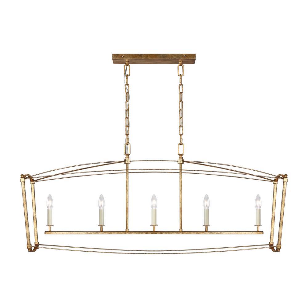 Thayer 5-Light Antique Gild Linear Chandelier