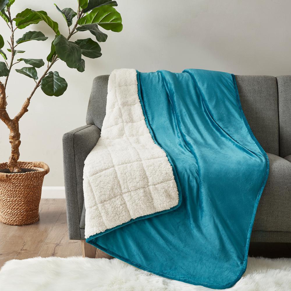 Velvet to Berber Teal 48 in. x 72 in. 12 lbs. Weighted Blanket