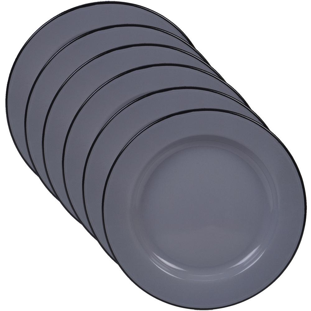 Certified International Enamelware 6-Piece Grey 10.25 in. Dinner Plate Set