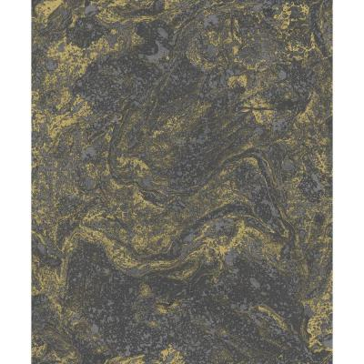 Infused Black and Gold Foil Marble Wallpaper