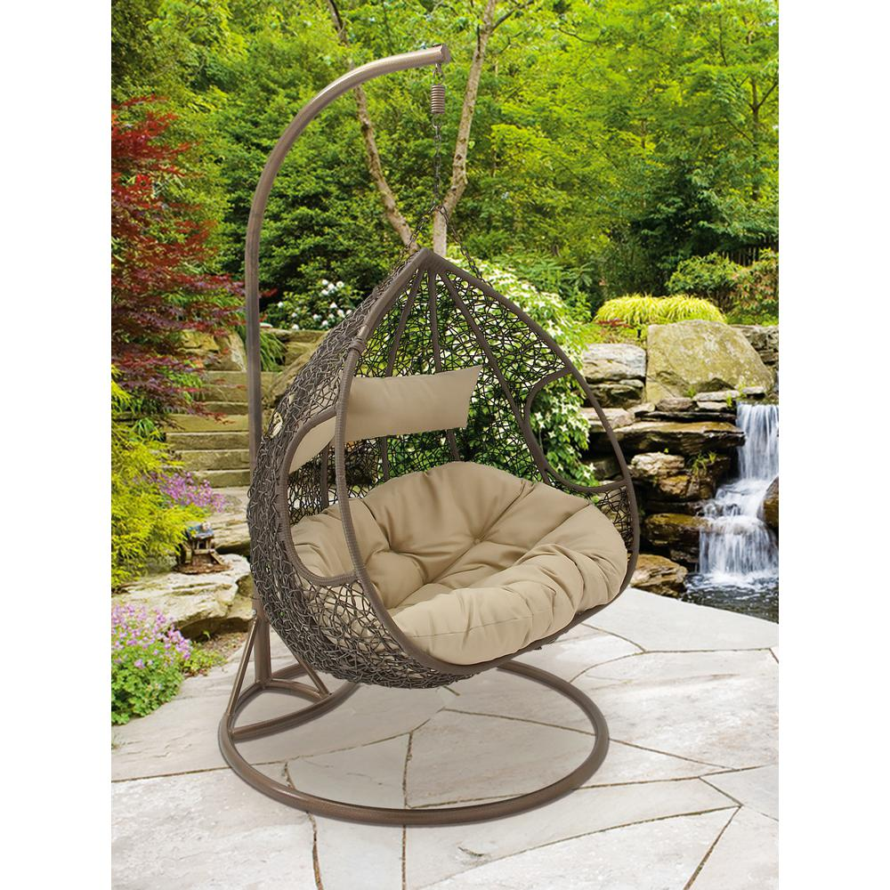 Brown rattan suspended chaise lounge 77077 the home depot for Brown chaise lounge outdoor