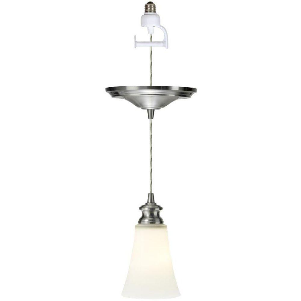 Home Decorators Collection 1-Light Satin Opal Brushed Nickel Instant Pendant Conversion Kit