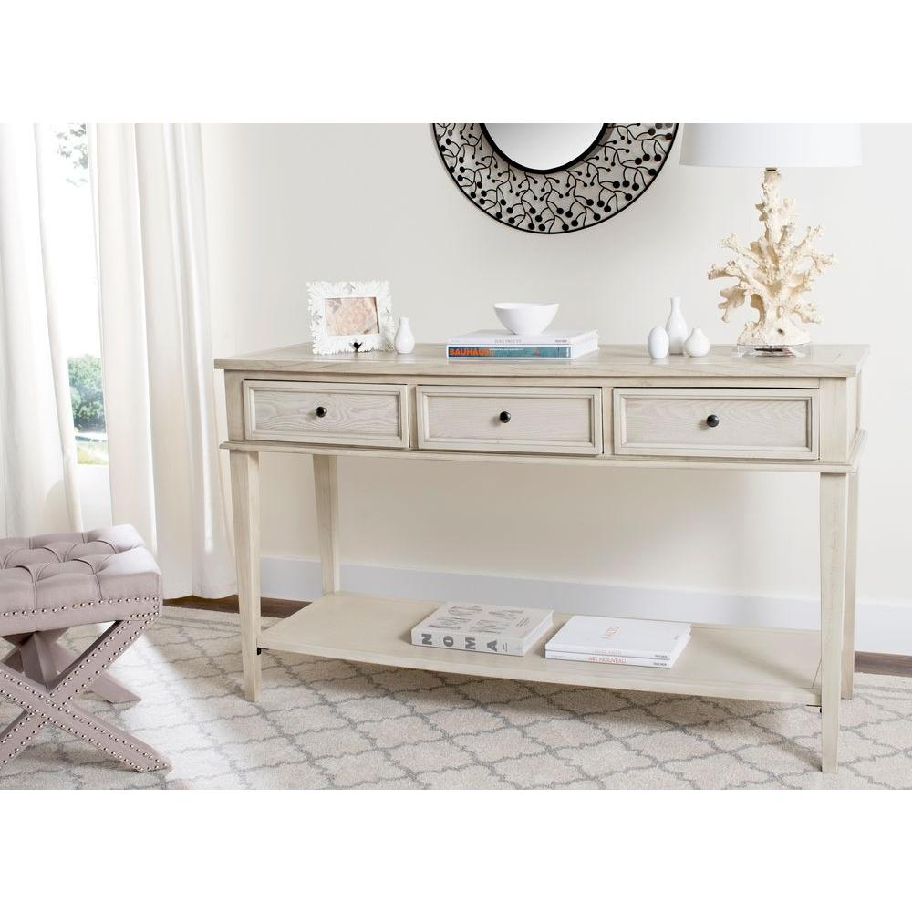 White sofa table Shaped Safavieh Manelin White Washed Storage Console Table The Home Depot Safavieh Manelin White Washed Storage Console Tableamh6641b The