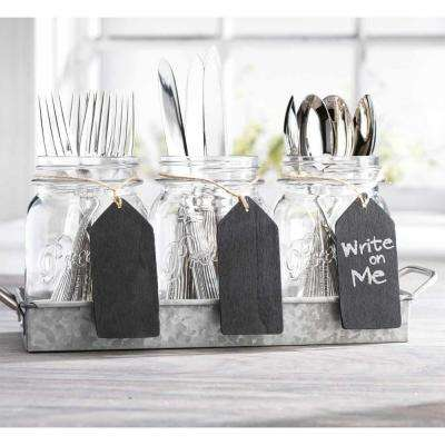 34cdef9d498f 6 in. x 14.50 in. x 4.50 in. Mason Jar Utensil Caddy with Galvanized Tray  and Chalk Tags
