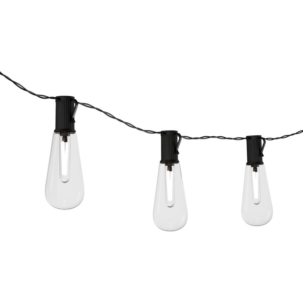 10-Light 14.5 ft. Outdoor  Solar Vintage Style Integrated LED String Lights