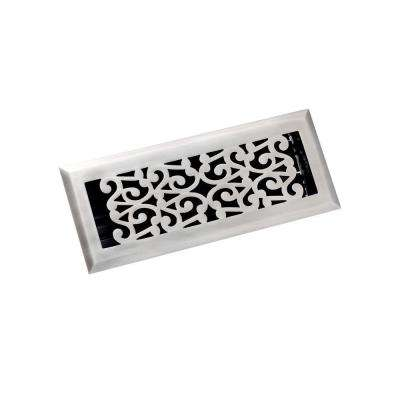 4 in. x 12 in. Scroll Floor Register, Antique Pewter