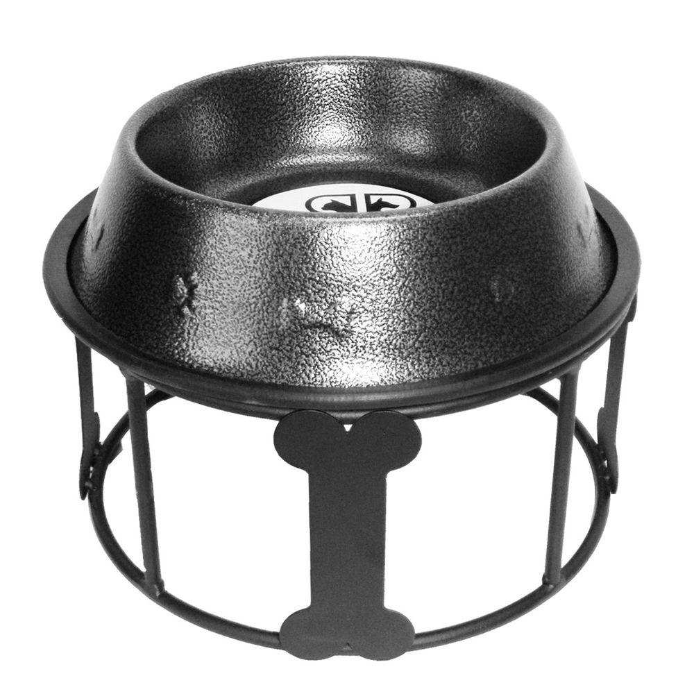 Platinum Pets 6.25 Cup Wrought Iron Bones and Stripes Single Feeder with Embossed Non-Tip Bowl in Silver Vein