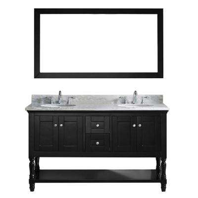 Julianna 60 in. W Bath Vanity in Espresso with Marble Vanity Top in White with Round Basin and Mirror