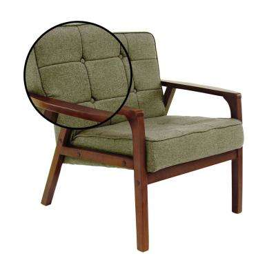 Green Fabric and Rubber Wood Cushioned Arm Chair