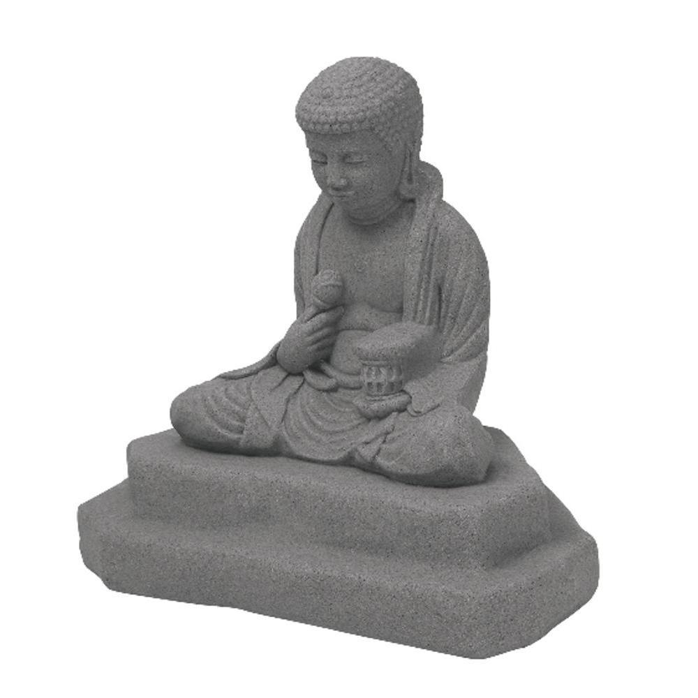 Emsco Granite Color High Density Resin Meditating Buddha Statue