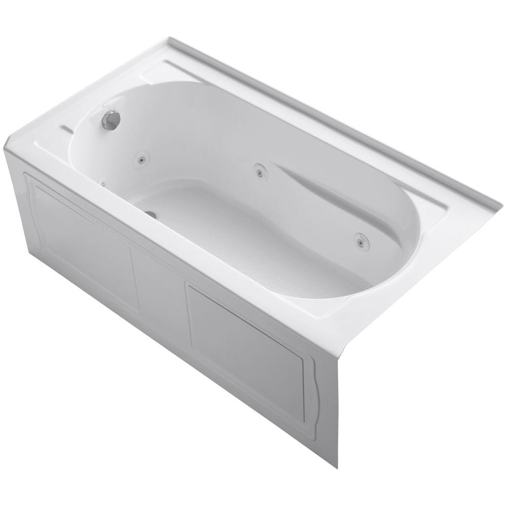 KOHLER Devonshire 5 ft. Acrylic  Left-Hand Drain Rectangular Alcove Whirlpool Bathtub in White
