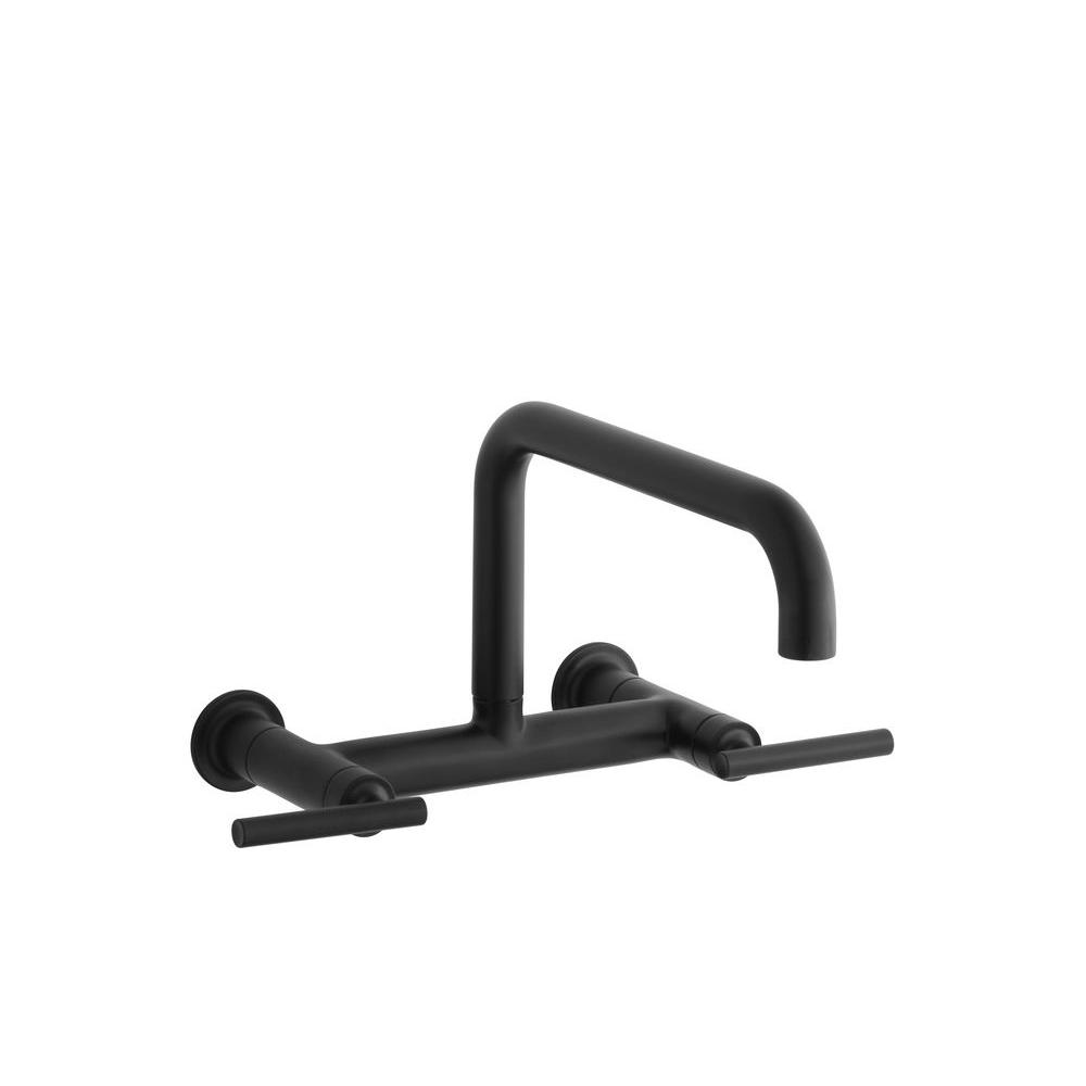 KOHLER Purist 2-Handle Bridge Kitchen Faucet in Matte Black-K-7549-4 ...