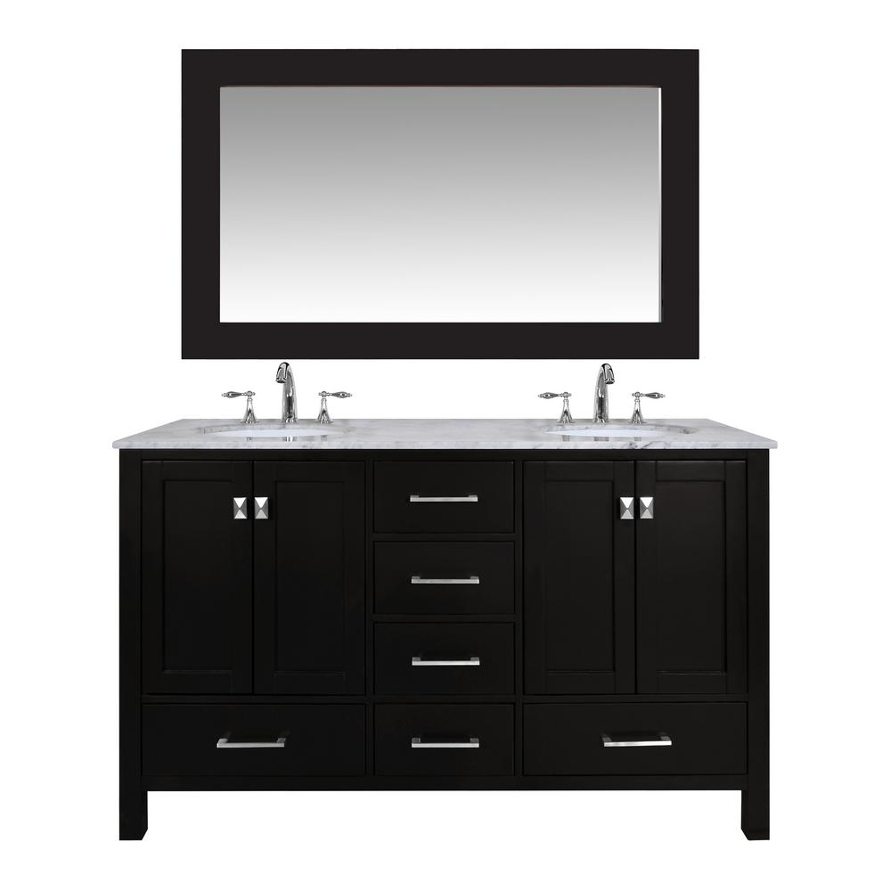 Stufurhome Malibu 60 In. Vanity In Espresso With Marble Vanity Top In  Carrara White With