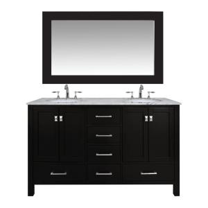 stufurhome Malibu 60 inch Vanity in Espresso with Marble Vanity Top in Carrara... by stufurhome