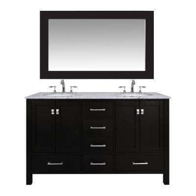 black vanity with sink. Vanity in Espresso with Marble Top Carrara White Mirror Black  Vanities Tops Bathroom The Home Depot