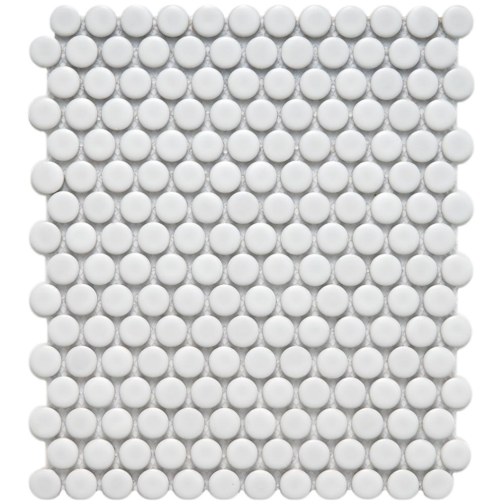 Merola Tile Metro Penny Matte White 9-3/4 in. x 11-1/2 in. x 6 mm Porcelain Mosaic Tile (8 sq. ft. / case)