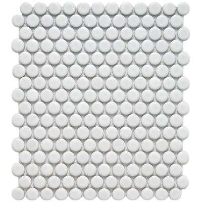 Metro Penny Matte White 9-3/4 in. x 11-1/2 in. x 6 mm Porcelain Mosaic Tile (7.97 sq. ft. / case)