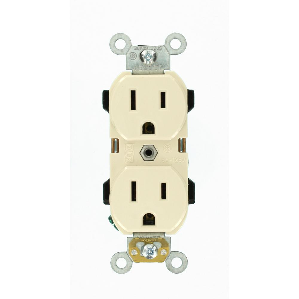 15 Amp Industrial Grade Narrow-Body Duplex Outlet, Light Almond