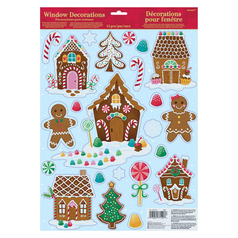 Christmas Houses.Amscan Christmas Gingerbread House Window Clings 6 Pack