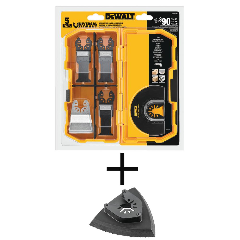 DEWALT Oscillating Blade Set (5-Piece) with Bonus Oscillating Sanding Pad