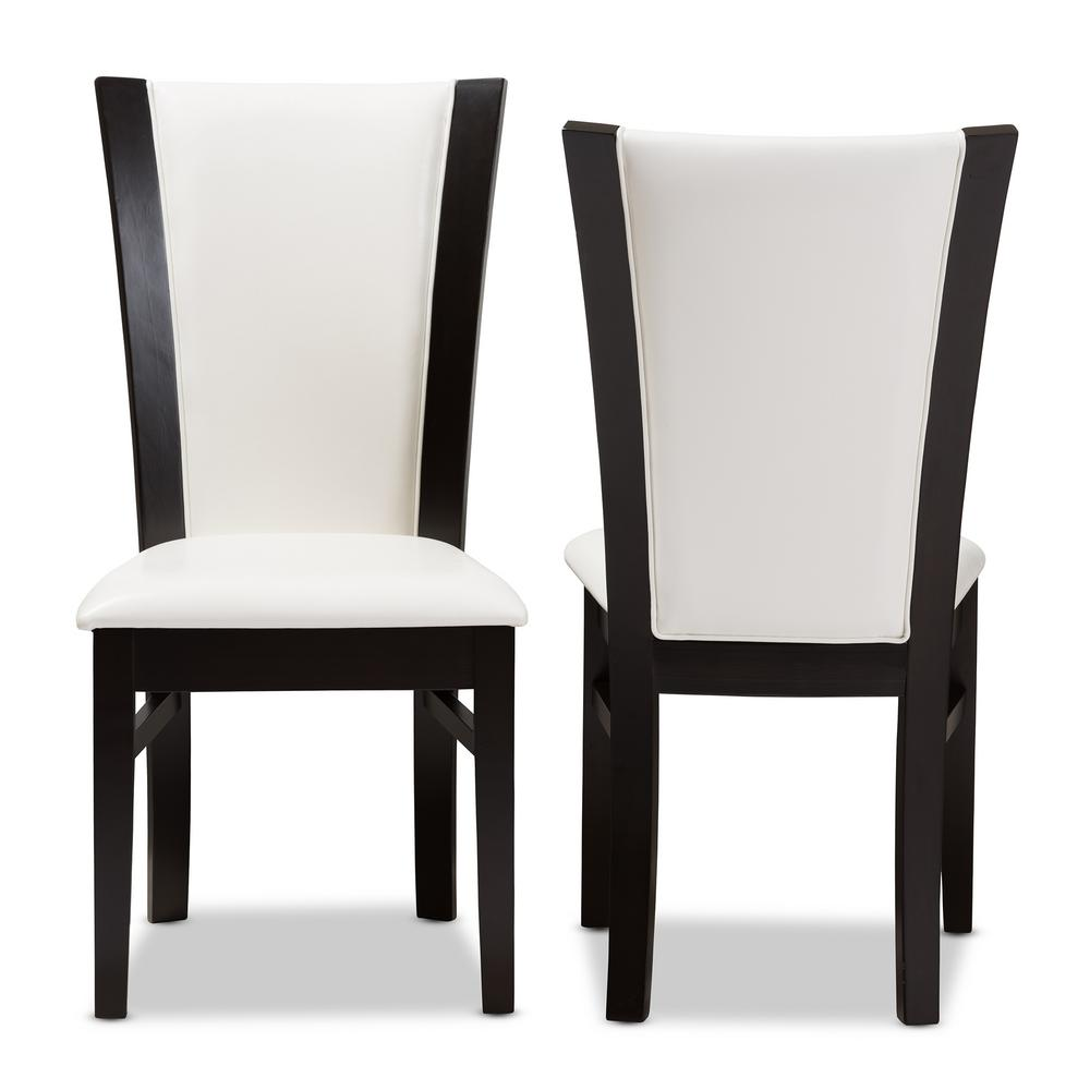 white leather dining chairs Baxton Studio Adley White and Dark Brown Faux Leather Dining Chair  white leather dining chairs