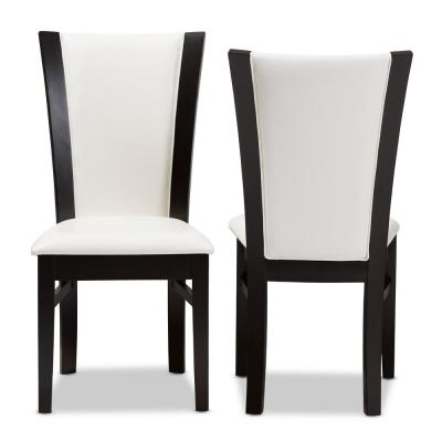 Adley White and Dark Brown Faux Leather Dining Chair (Set of 2)