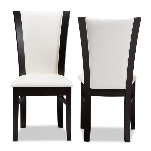 Baxton Studio Adley White and Dark Brown Faux Leather Dining Chair