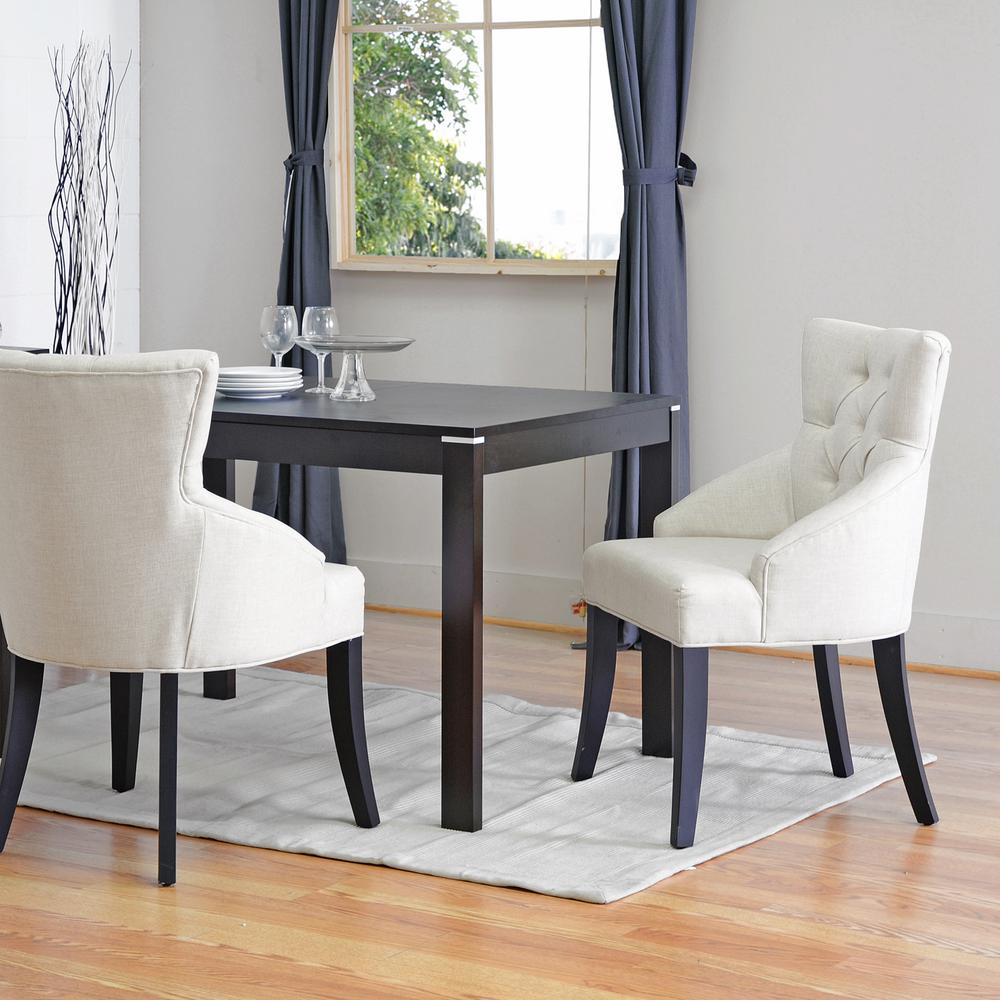 Baxton Studio Halifax Beige Fabric Upholstered Dining Chairs Set Of 2 2PC 3771 HD