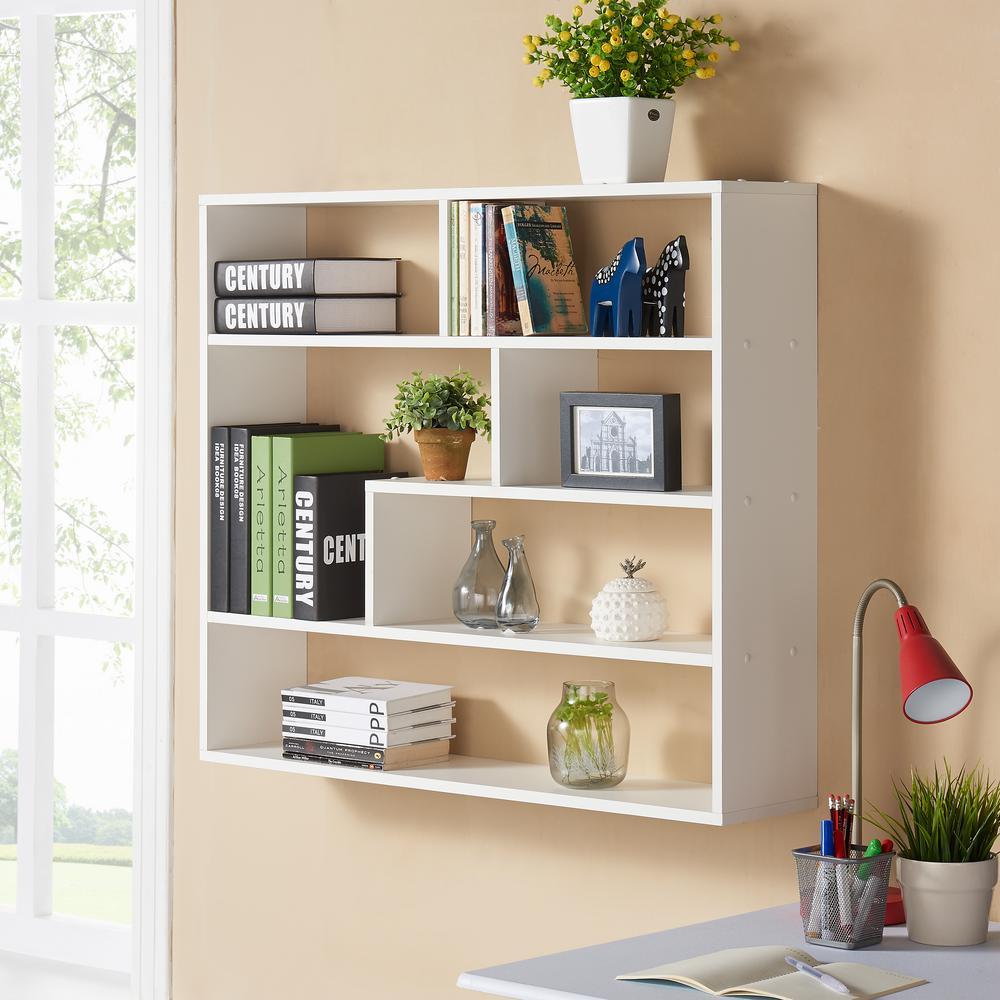 Danya b cantilever white mdf floating wall shelf xf160708wh the white laminated rectangular floating wall shelf amipublicfo Choice Image