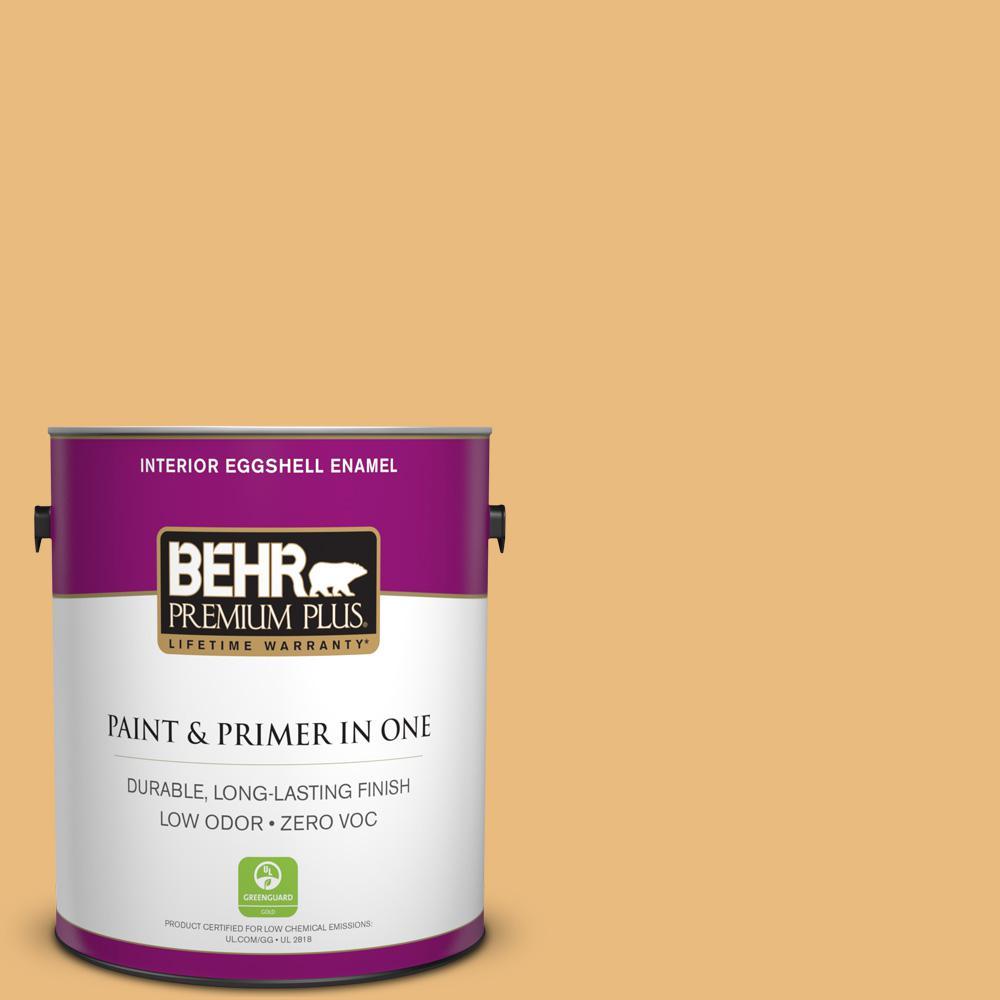 BEHR Premium Plus 1-gal. #310D-4 Gold Buff Zero VOC Eggshell Enamel Interior Paint