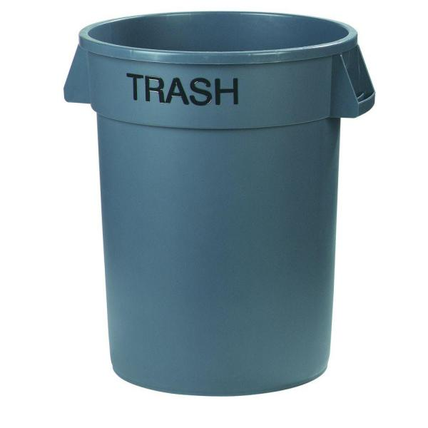 Bronco 32 Gal. Gray Round Trash Can Imprinted with Trash (4-Pack)