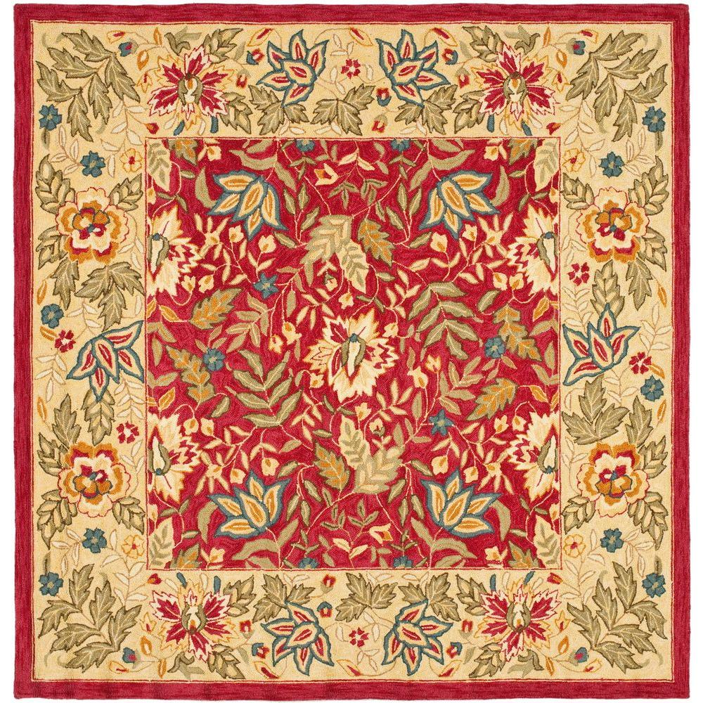 Chelsea Red/Ivory 8 ft. x 8 ft. Square Area Rug