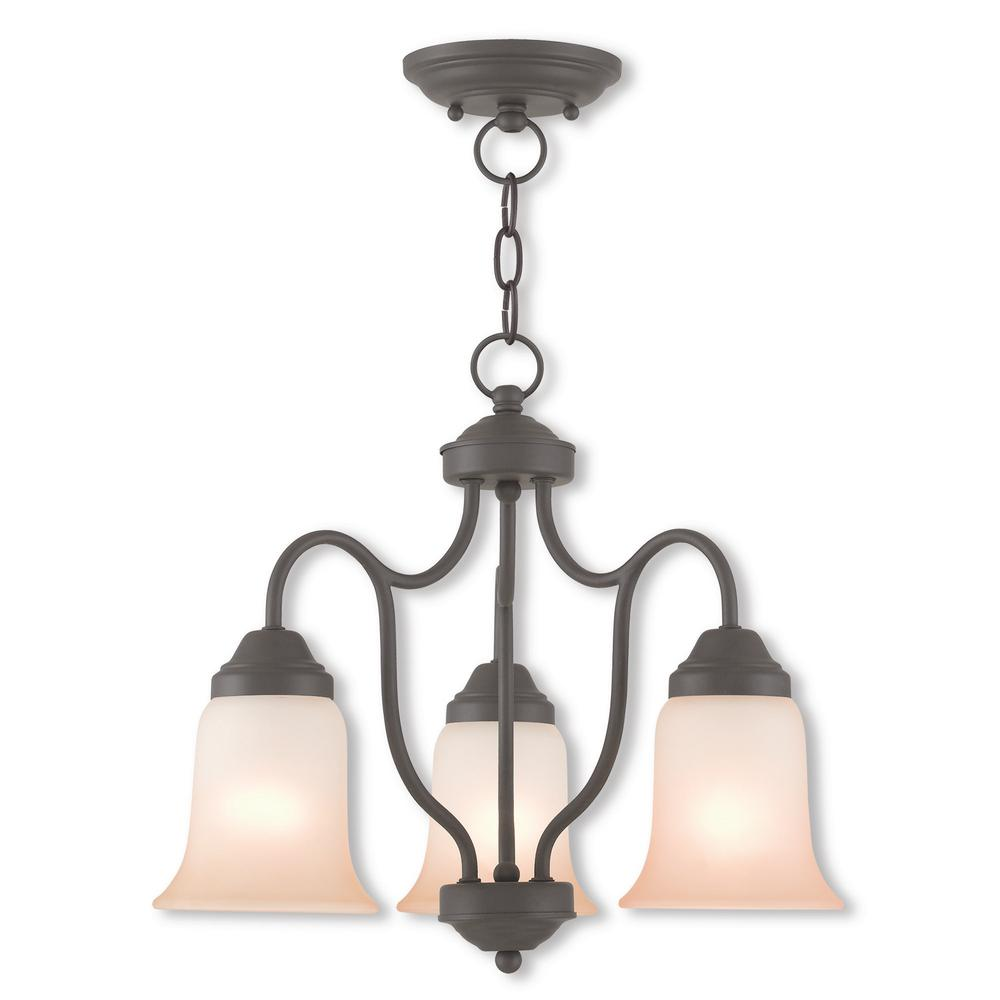 Karysa 3-Light Bronze Convertible Chandelier with Hand Applied Sunrise Marble