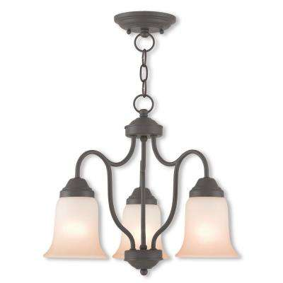 Karysa 3-Light Bronze Convertible Chandelier with Hand Applied Sunrise Marble Glass Shade