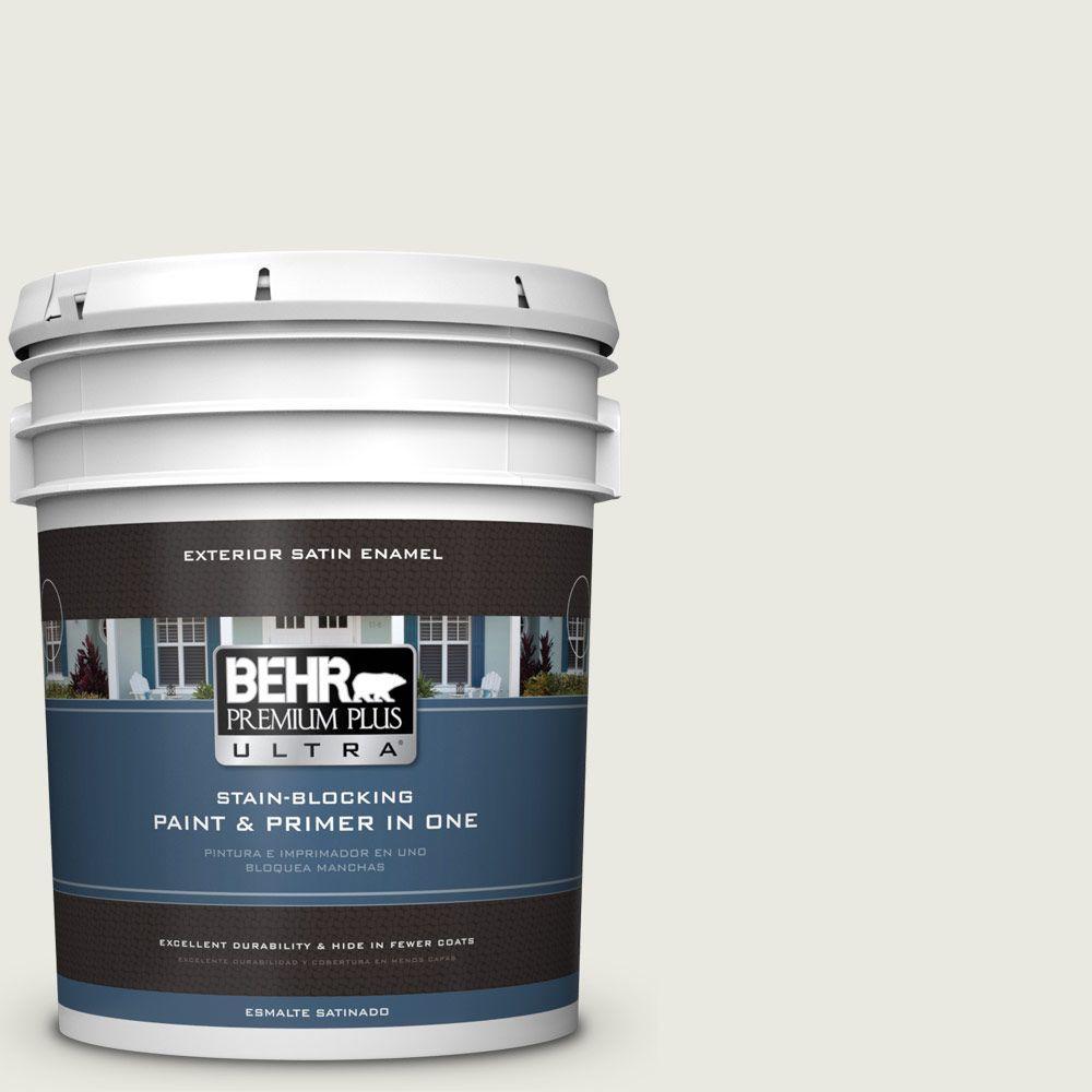 BEHR Premium Plus Ultra 5-gal. #GR-W7 Angel Feather Satin Enamel Exterior Paint