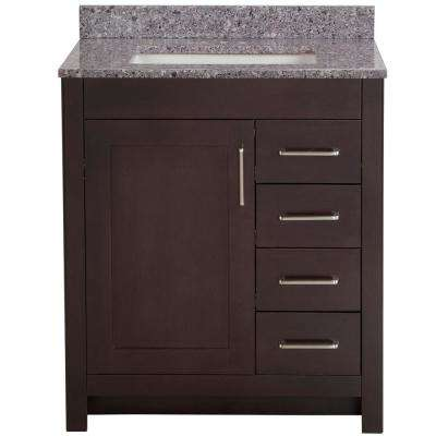 Westcourt 31 in. W x 22 in. D Bath Vanity in Chocolate with Stone Effect Vanity Top in Mineral Gray with White Sink