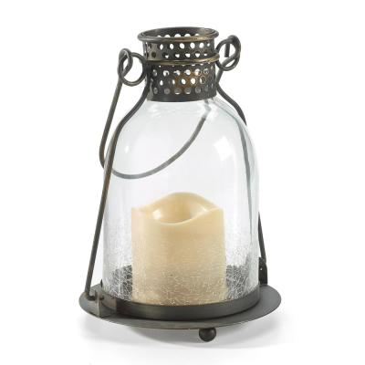 Monaco 9 in. H Integrated LED Clear Glass Candle Lantern
