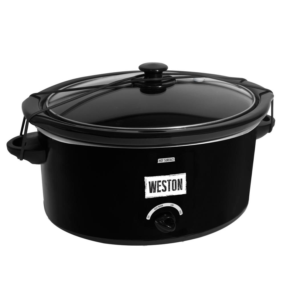 5 Qt. Slow Cooker with Lid Latch Strap, Black The Weston 5 Qt. Slow Cooker is the perfect way to bring food to a family gathering, a potluck or even a tailgating party. With the Lid Latch strap and gasket lid, transporting is mess-free. Slow cookers are great when life is busy, and you can come home to favorite ready to eat meals. Great for making soups, stews, dips, roasts and so much more. This oval shaped size will fit a 5 lb. chicken or two 2 lb. roasts. There are 3 convenience settings for high, low and keep warm cooking. Color: Black.