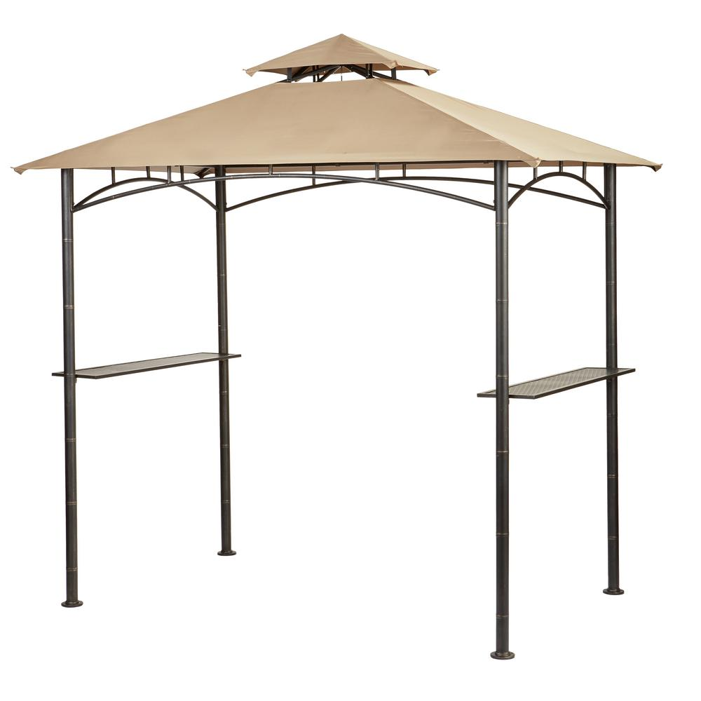Hampton Bay Tiki 5 ft. x 8 ft. x 8ft. Brown Grill Gazebo