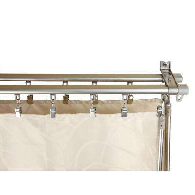 48 in. - 84 in. Silver Armor Adjustable Baton Draw Double Track Curtain Rod Set