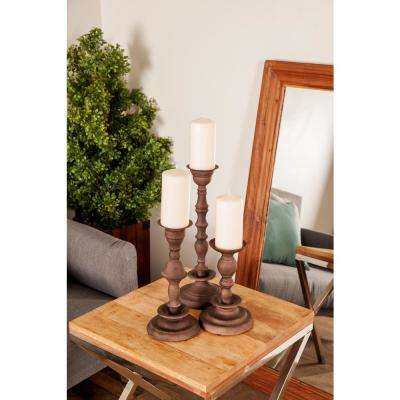 Dark Brown Baluster-Style Iron Candle Holders (Set of 3)