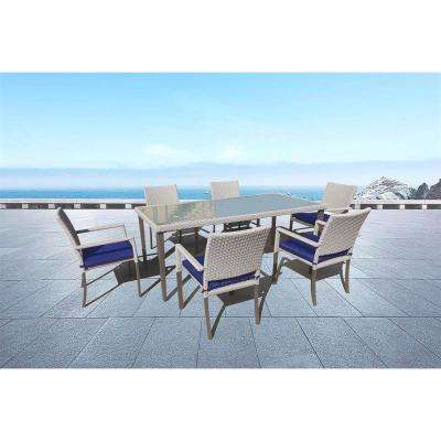 Aldrich 7-Piece Wicker Patio Outdoor Dining Set with Blue Sunbrella Cushions