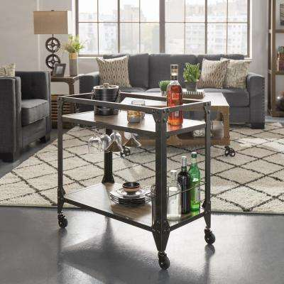 Art Charcoal Bar Cart with Wine Glass Storage