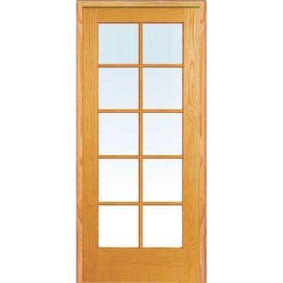 32 in. x 80 in. Left Handed Unfinished Pine Wood Clear Glass 10 Lite True Divided Single Prehung Interior Door