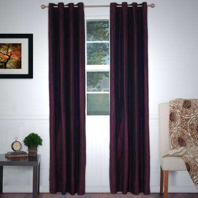 Burgundy Polyester Grommet Curtain - 56 in. W x 84 in. L (1 Pair)